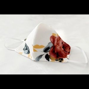 Reusable Washable white floral face mask